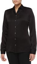Michael Kors Long-Sleeve Button-Front Shirt, Black
