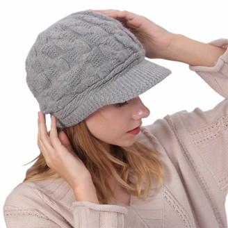 vamei Ladies Winter Hat Beret Winter Hat for Women Knit Beanie Hat Cabbie Cap Visor Beret Warm Skullcap Knitted Beanie Ladies Cloche Hat Winter Warm (Grey B)