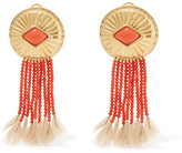 Aurelie Bidermann Gold-plated, Coral And Feather Clip Earrings - one size