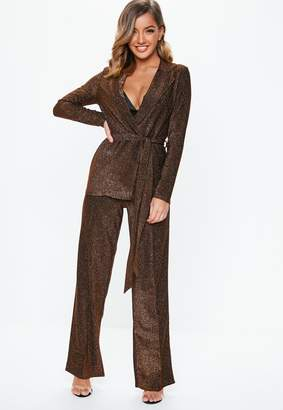 Missguided Bronze Shimmer Trousers