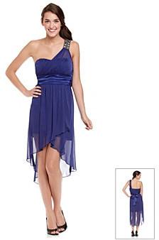 Trixxi Juniors' One Shoulder Rhinestone Chiffon High Low Dress
