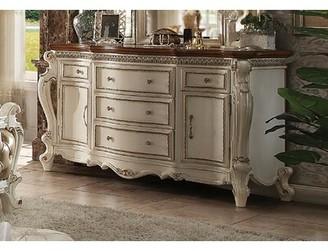 Dili 5 Drawer Combo Dresser Astoria Grand Color: Antique Pearl/Cherry Oak