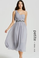 Little Mistress Petite Grey One Shoulder Embellished Prom Dress