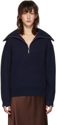 Acne Studios Navy Half-Zip Sweater