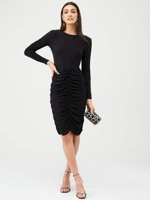 Very Ruched Panels Midi Dress - Black