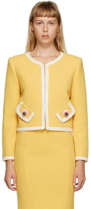 Moschino Yellow Boucle Binding Blazer