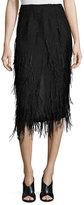 Jason Wu Ostrich-Feather Pencil Midi Skirt, Black