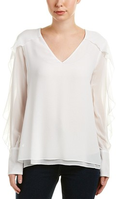 BCBGMAXAZRIA Women's Gael Woven Long Sleeve Top