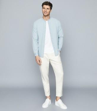 Reiss Maine - Light Wash Grandad Collar Shirt in Blue