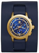 Tory Burch Farrier Watch, Navy Leather/Gold-Tone Chronograph, 37 Mm