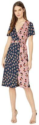BCBGeneration Short Sleeve Wrap Dress TQA6257083 (Indigo) Women's Clothing