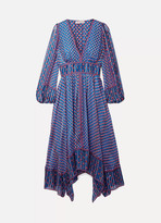 Ulla Johnson Amabelle Asymmetric Printed Silk-jacquard Dress - Blue