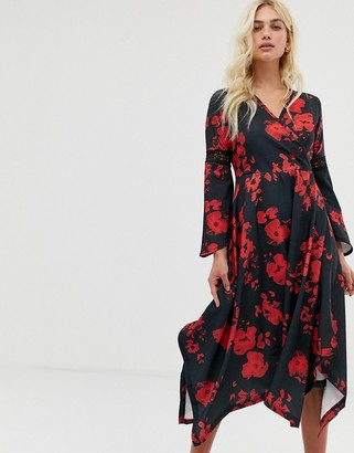 Zibi London wrap front midi dress with hanky hem