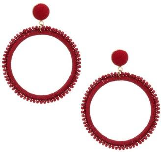 Kenneth Jay Lane Woven Threaded Circle Post Drop Earrings