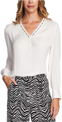 Vince Camuto Petite Studded Long-Sleeve Top