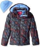London Fog Girls' Printed Puffer Coat with Hat
