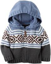 Carter's Hooded Zip Up Sweater (Baby) - Blue - Newborn