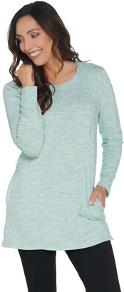 Denim & Co. Petite Brushed Heavenly Jersey Tunic with Hood