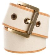 Gucci Leather-Trimmed Canvas Belt