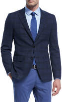 BOSS Plaid Hopsack Stretch-Wool Sport Coat
