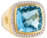David Yurman 18K Blue Topaz & Diamond Albion Ring