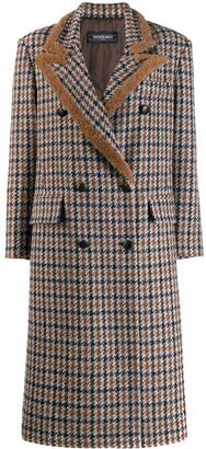 Simonetta Ravizza Paula double breasted coat with shearling piping
