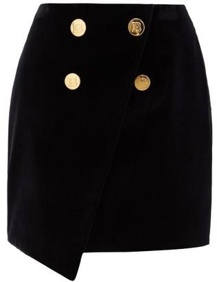 Balmain Buttoned Asymmetric Cotton Mini Skirt - Black
