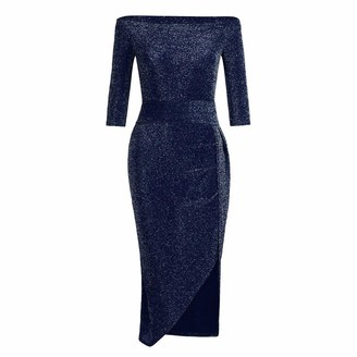 Ashui Women Off Shoulder Dress Sexy High Slit Bodycon Dress Long Sleeve Dresses Party Dress Occasion Long Gown Evening Dress Party Club Dress Navy