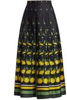 Valentino Daisy Degrade Long Box Pleat Silk Skirt