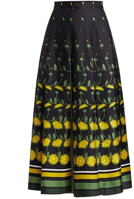 Valentino Daisy Degrade Long Box Pleat Silk Skirt