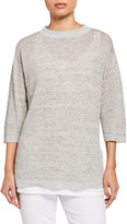 Eileen Fisher Melange Organic Linen 3/4-Sleeve Tunic Sweater