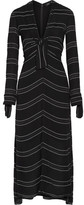Proenza Schouler Striped Crepe Midi Dress - Black