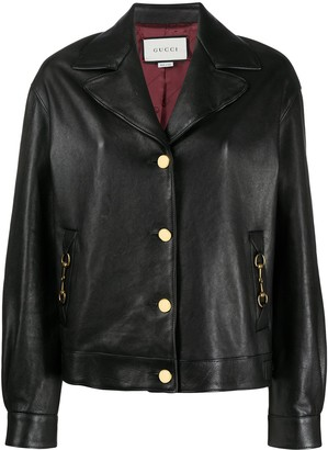 Gucci Horsebit buttoned leather jacket