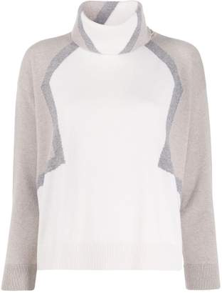 Lorena Antoniazzi turtleneck colour-block jumper