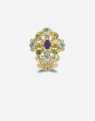 Dolce & Gabbana Pizzo Ring In Yellow Gold Filgree With Amethyst, Aquamarines, Peridots And Morganite