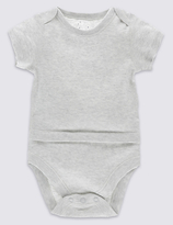 Marks and Spencer Pure Cotton Short Sleeve Bodysuit with Popper Tummy (0-3 Years)