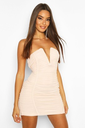 boohoo Bandeau V Bar Mesh Mini Dress