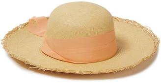 Sensi Bow-embellished Canvas-trimmed Toquilla Straw Panama Hat