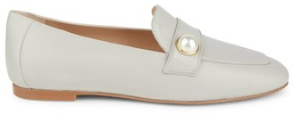 Stuart Weitzman Payson Faux Pearl-Embellished Leather Loafers