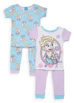 AME Sleepwear Little Girl's Frozen Four-Piece Tee & Pants Set