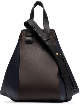 Loewe blue and brown small Hammock bag