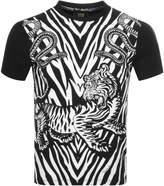Just Cavalli Cavalli Class Tiger Zebra Logo T Shirt Black