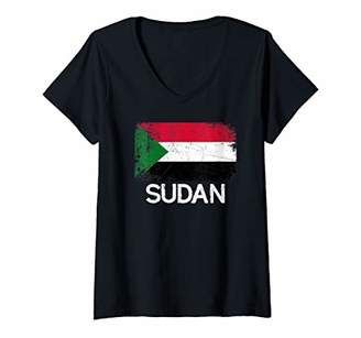 Womens Sudanese Flag | Vintage Made In Sudan Gift V-Neck T-Shirt