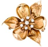 Tiffany & Co. 14K Diamond Flower Brooch