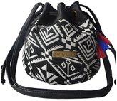 Elisona Ethnic Canvas Drawstring Mini Bucket Backpack Shoulder Bag Satchel Balck Totem
