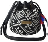 Elisona Ethnic Canvas Drawstring Mini Bucket Backpack Shoulder Bag Satchel