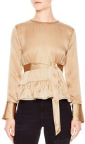 Sandro Courtney Belted Silk Top