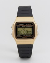 Casio F91WM-9A digital silicone strap watch in black/gold