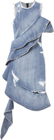 Jonathan Simkhai Asymmetrical Ruffled Denim Dress