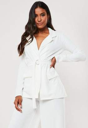 Missguided White Co Ord D Ring Belt Pocket Front Blazer